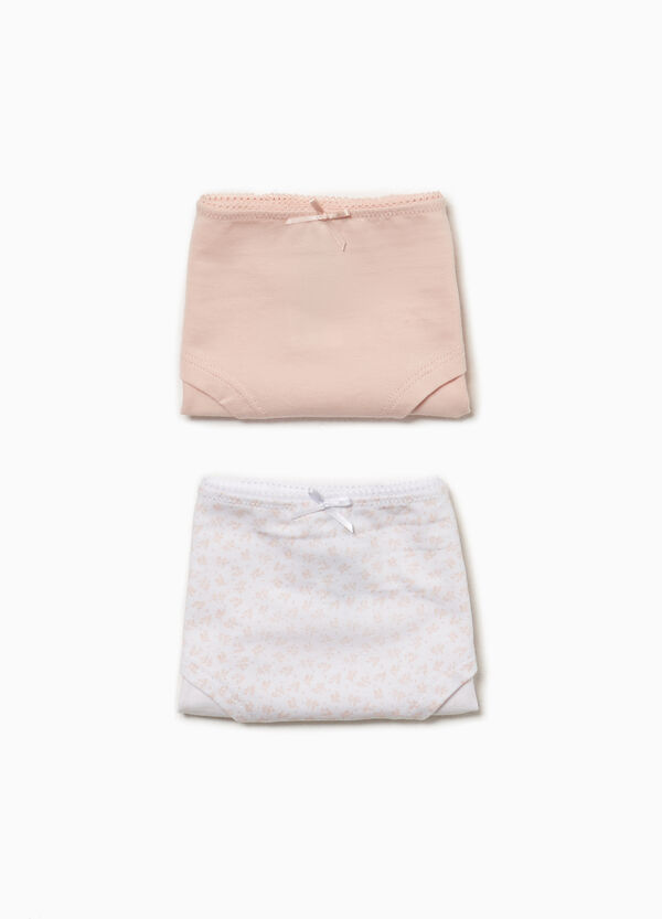 Two-pair pack solid colour and patterned French knickers