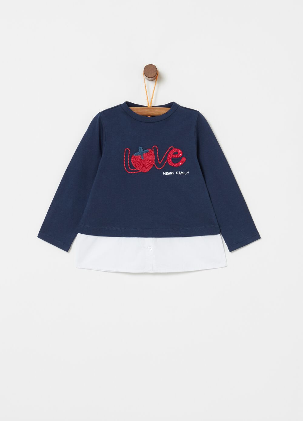 Faux layered T-shirt with long sleeves