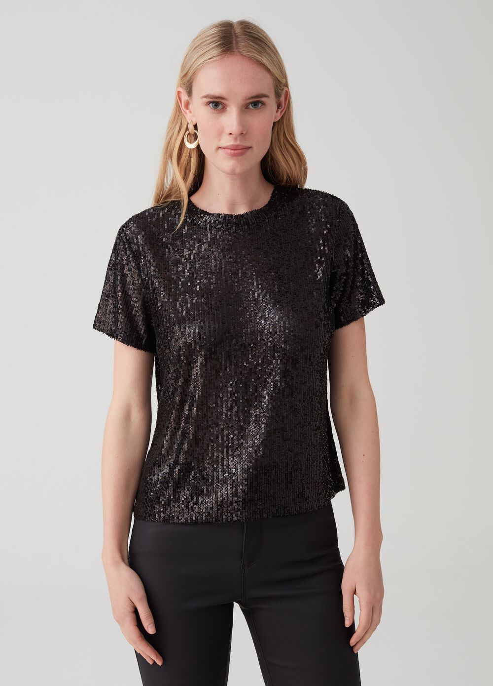 T-shirt with all-over sequins