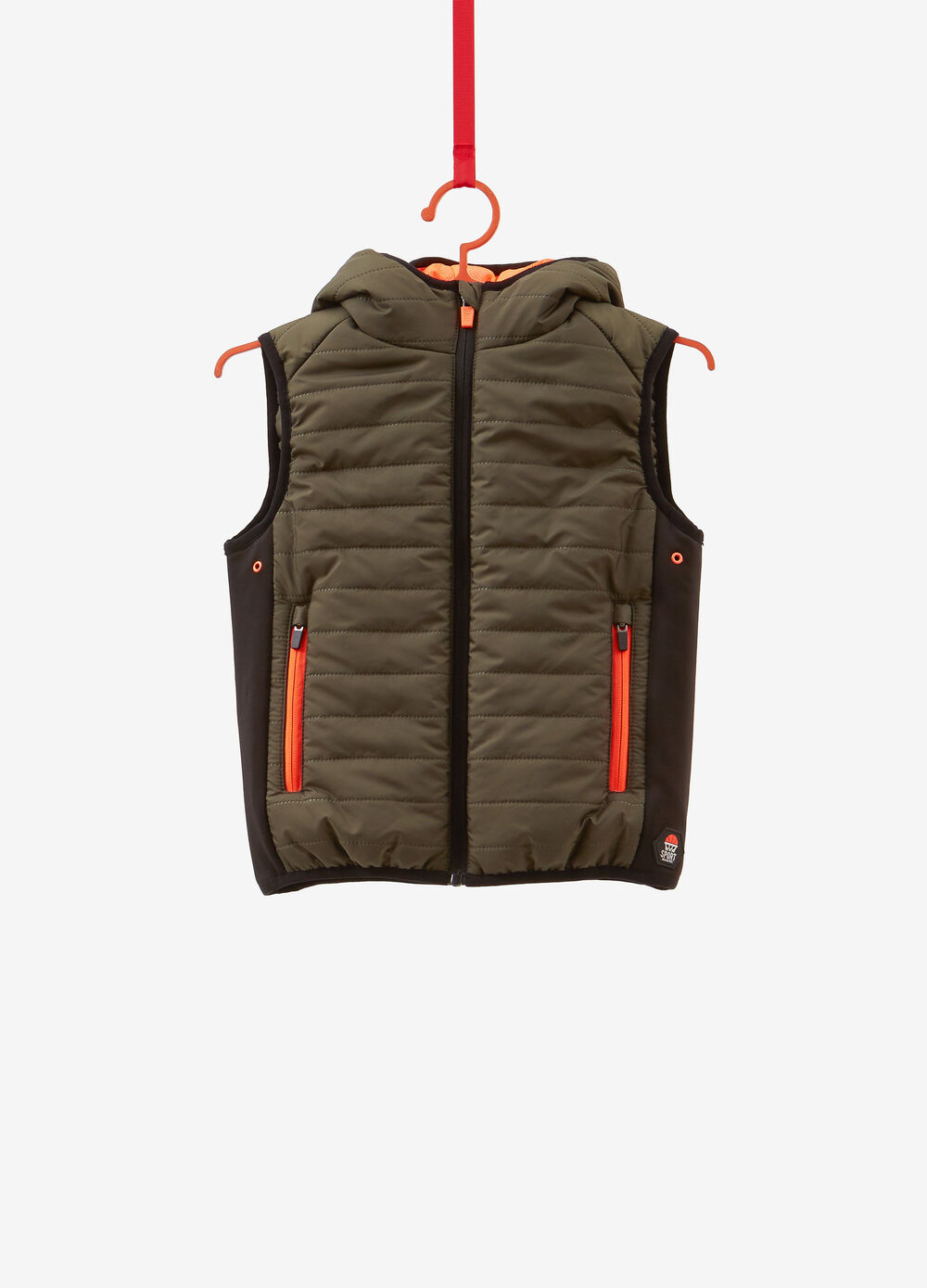 Quilted gilet with trim and print