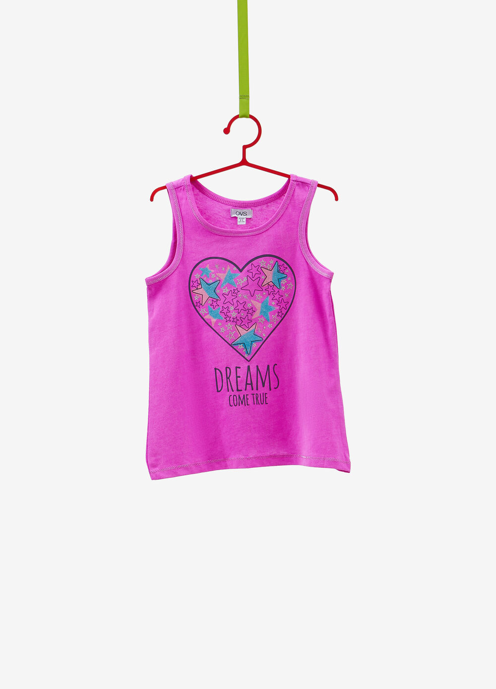 Top in 100% cotton with glitter print