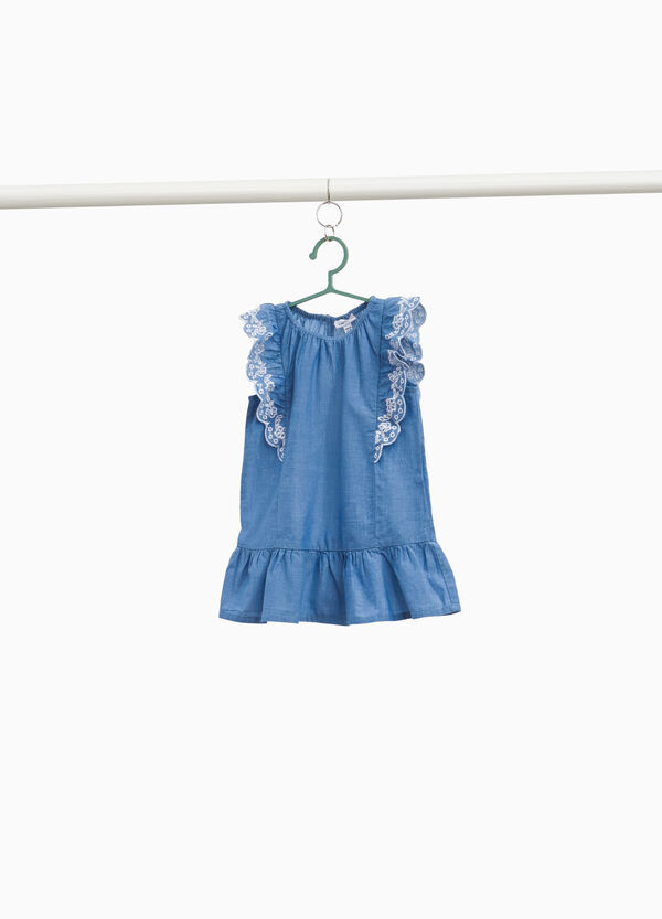 Cotton dress with embroidered flounce