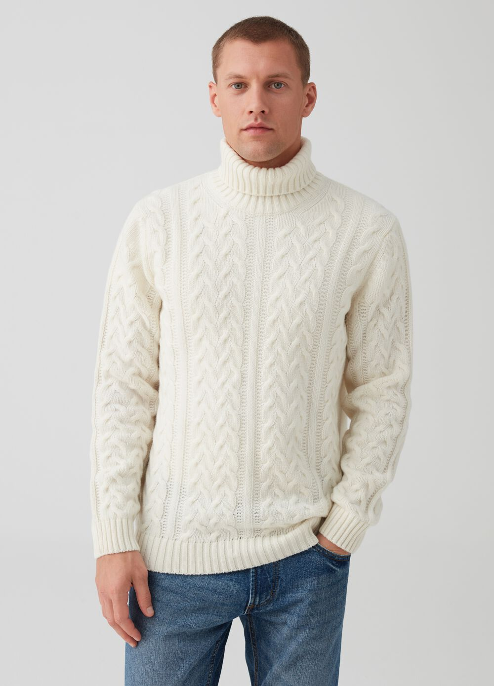 Rumford wool blend pullover with high neck