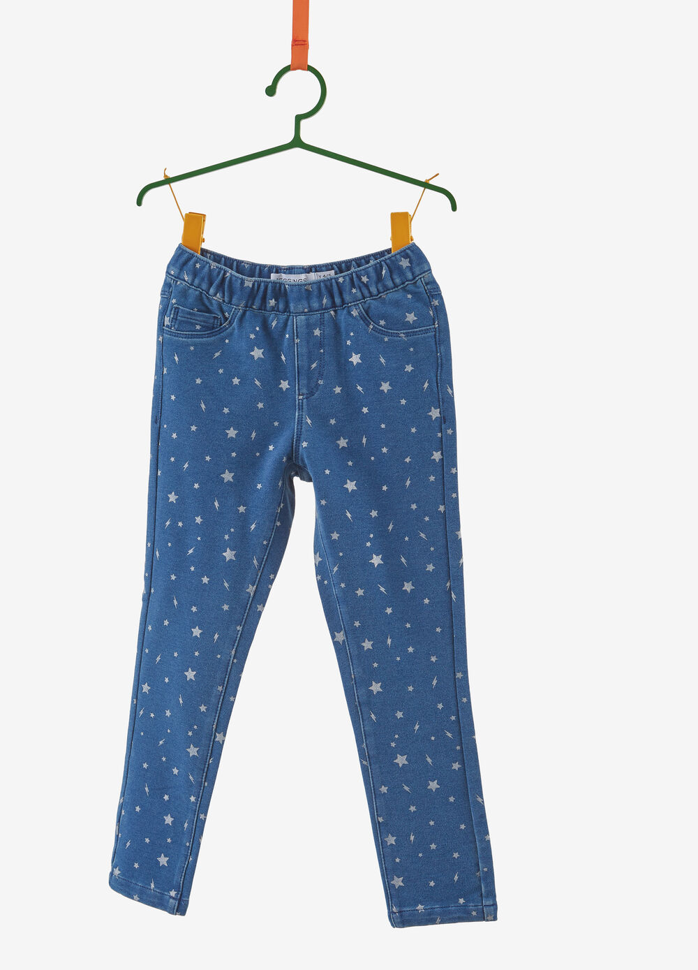 Stretch blended jeggings with contrasting pattern