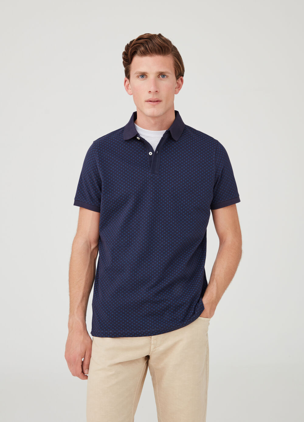 Cotton piquet polo shirt with all-over print
