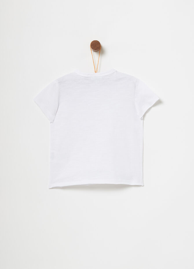 T-shirt with ribbed neckline and patch
