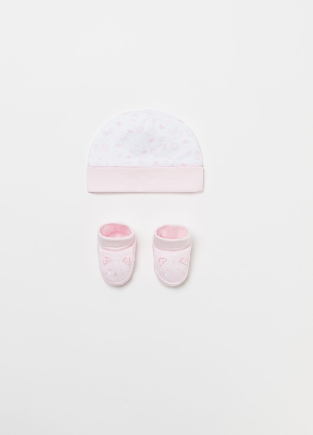 BCI baby shoes and hat with kitten