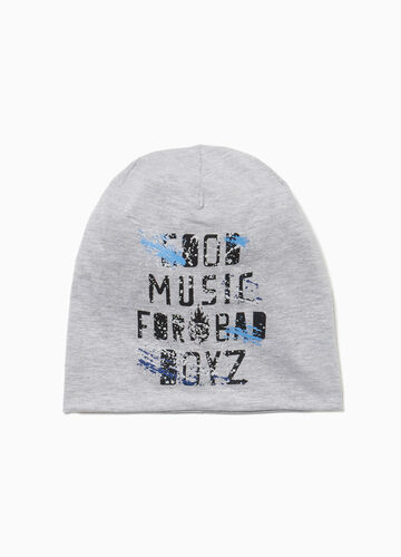 Printed jersey beanie cap