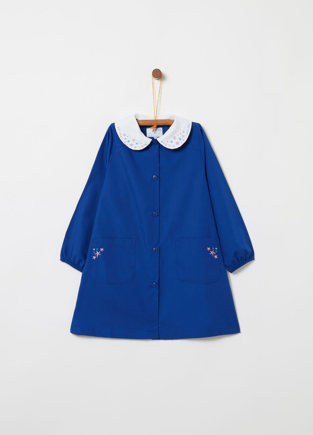 School smock with rounded collar embroidery and pockets