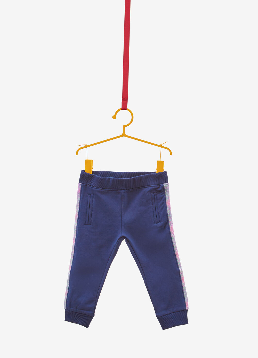Stretch trousers with glitter bands