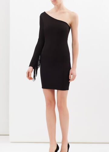 One-shoulder dress in viscose blend