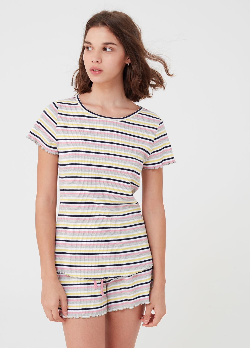 Yarn-dyed pyjama T-shirt with stripes
