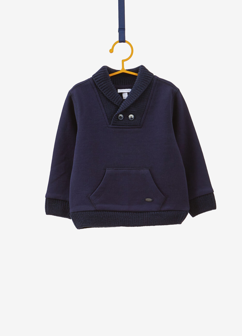 Solid colour pullover with pocket and buttons