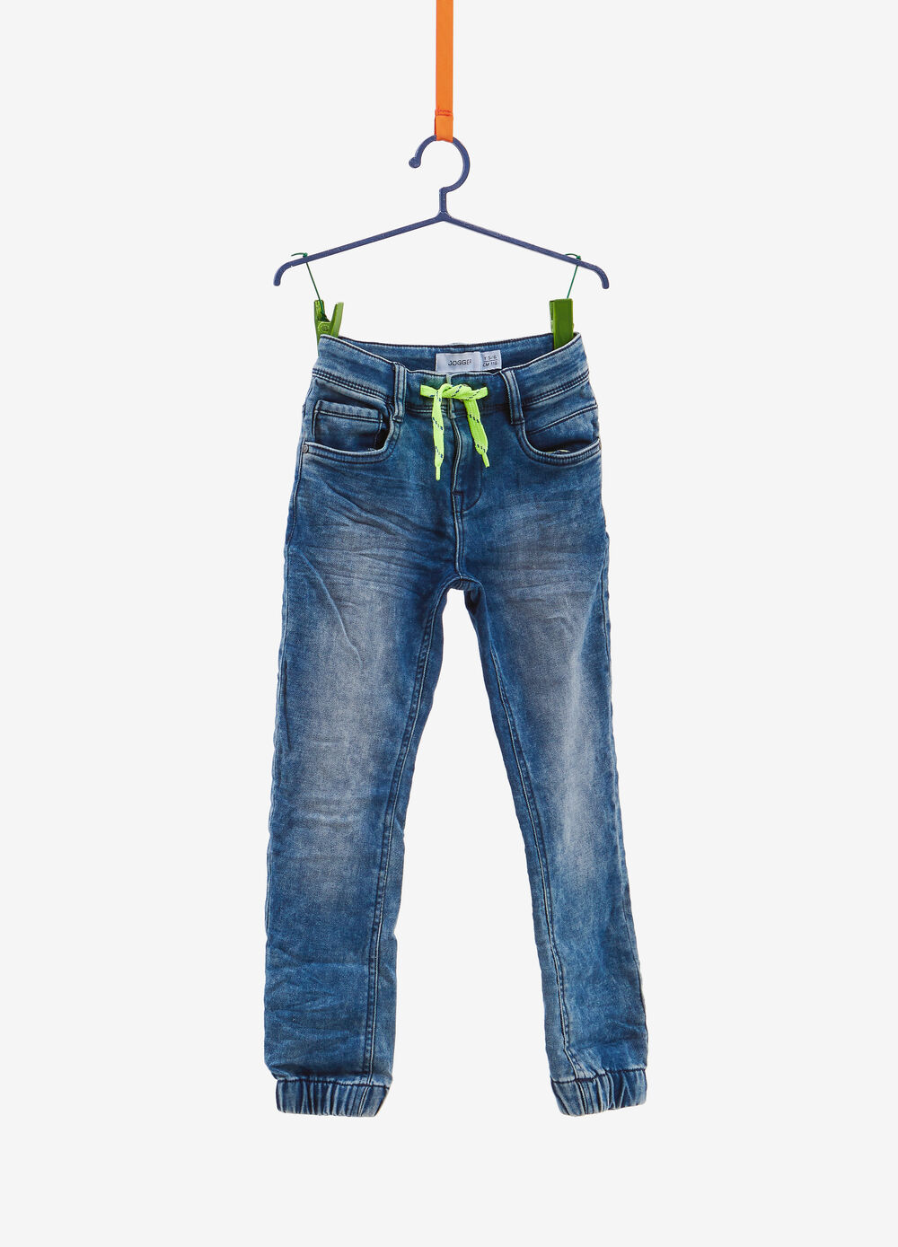 Jogger-fit faded-effect stretch jeans with drawstring
