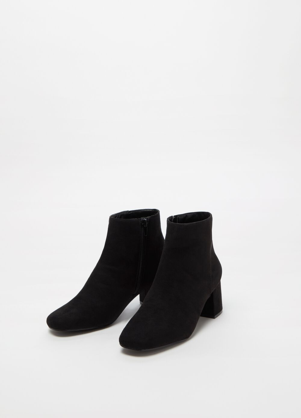 Microfibre ankle boots with chunky heel