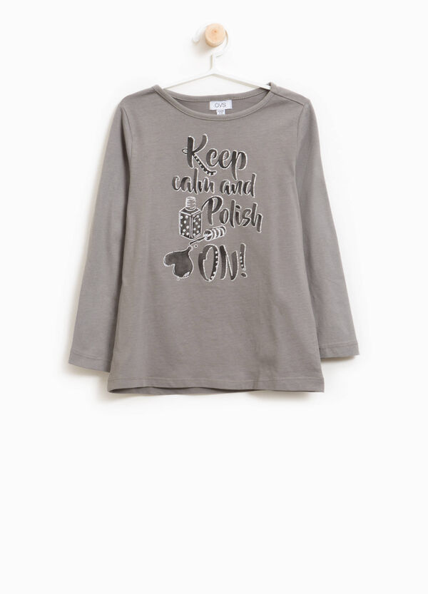 Cotton T-shirt with printed glitter lettering