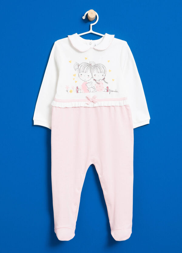 Onesie with round collar and feet