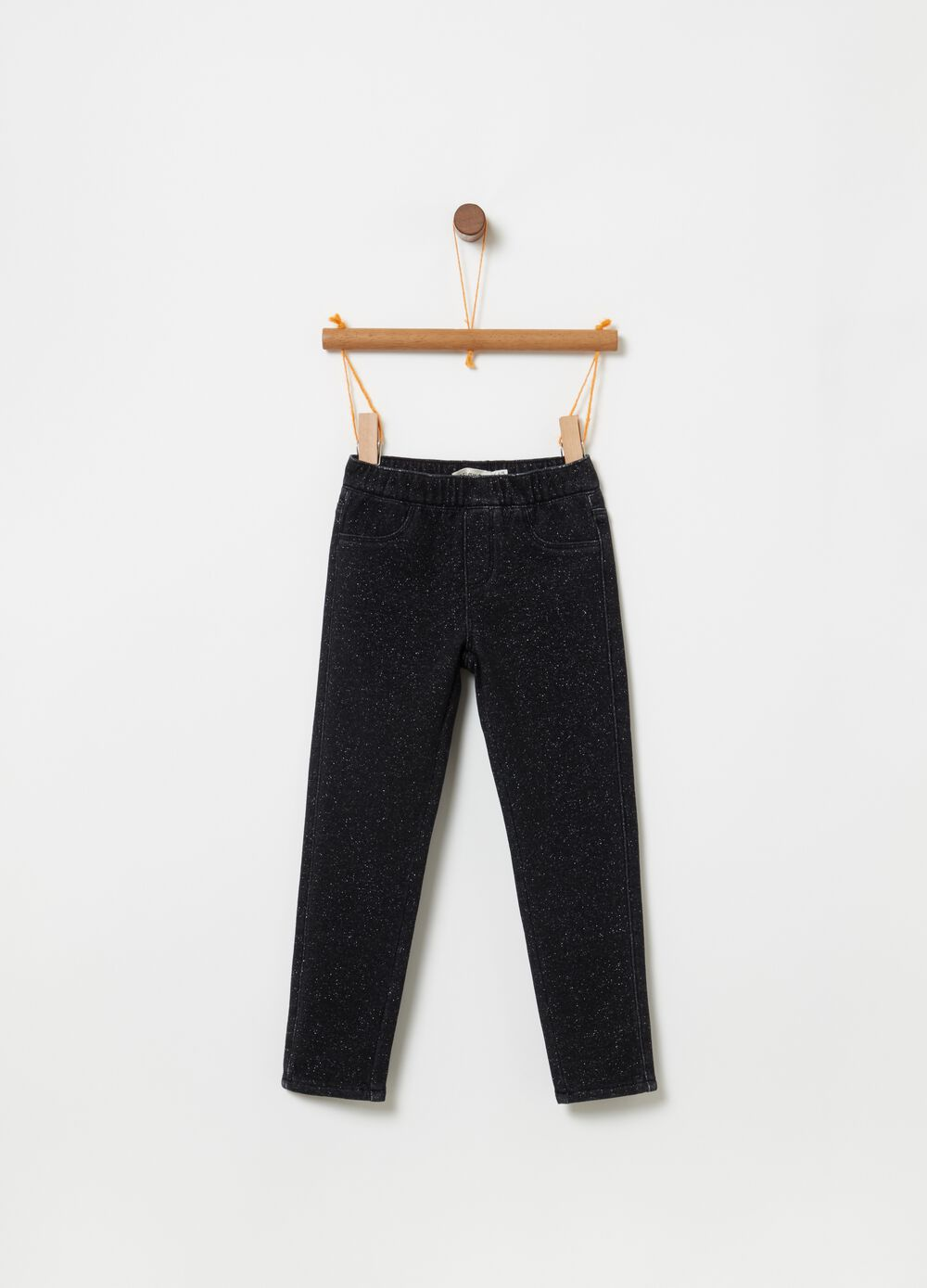 Stretch lurex jeggings with pockets