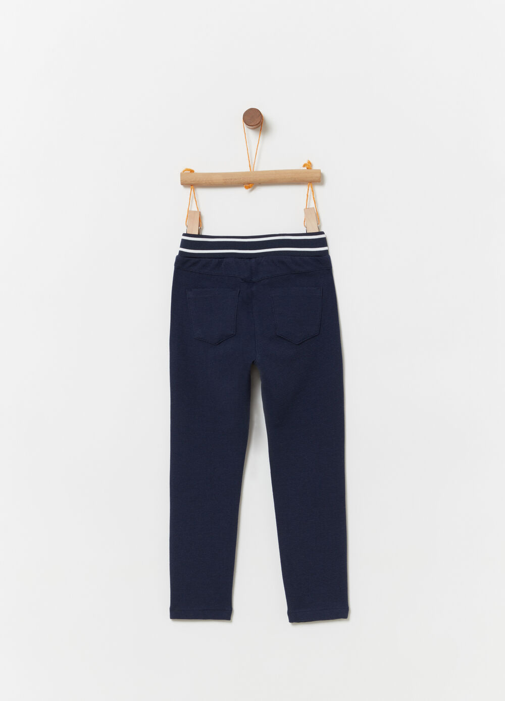Stretch trousers with striped weave