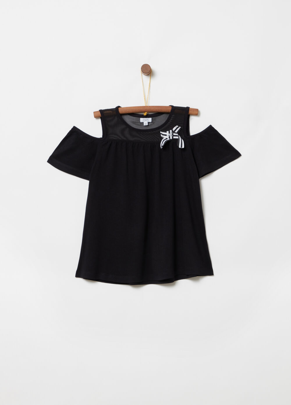 Strapless T-shirt and bow with diamantés