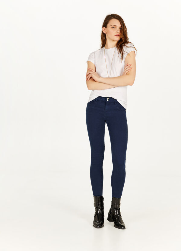 Stretch cotton and lyocell trousers