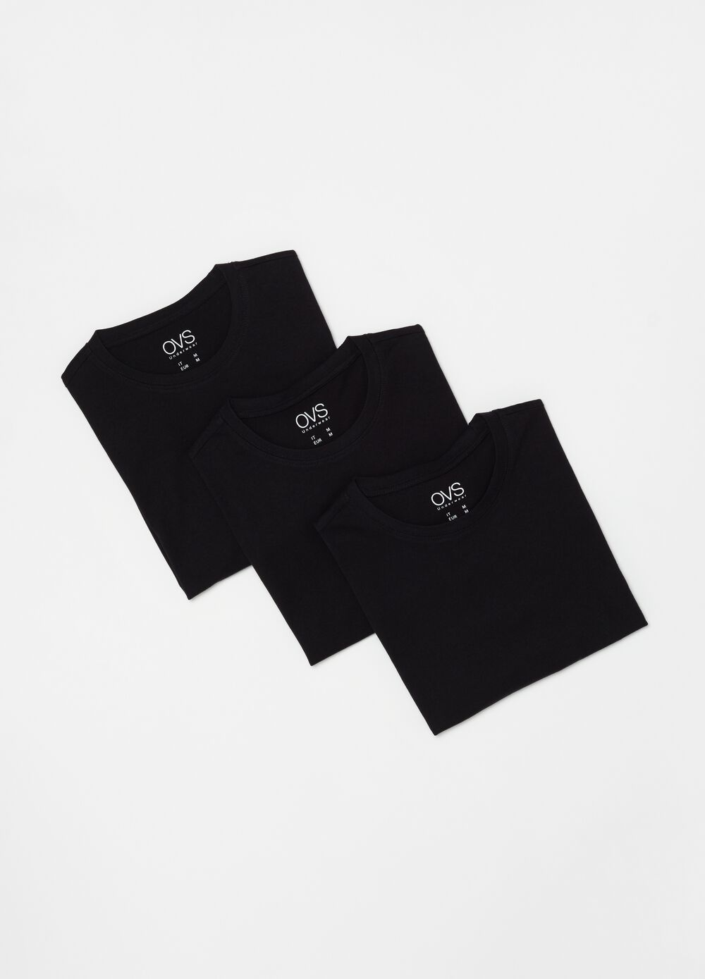 Three-pack undershirts with round neck