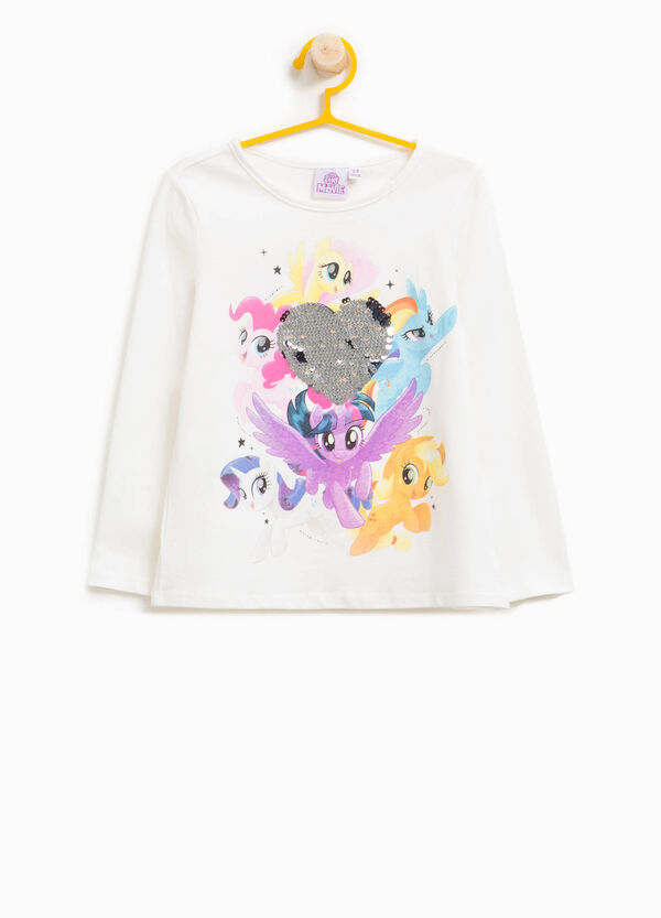 T-shirt stampa e paillettes My Little Pony