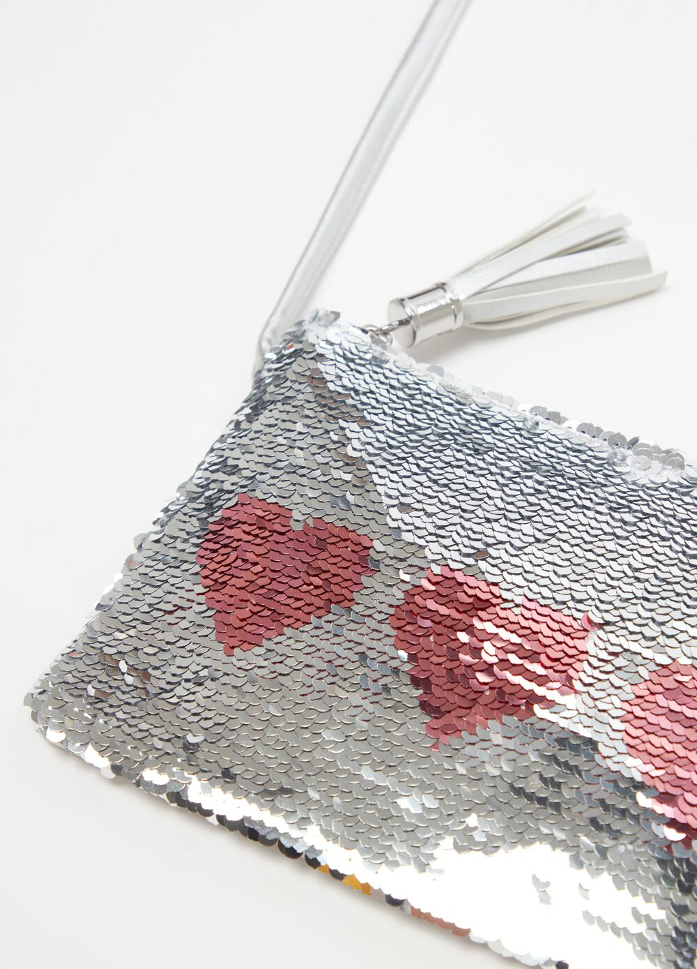 Shoulder bag with sequins and zip