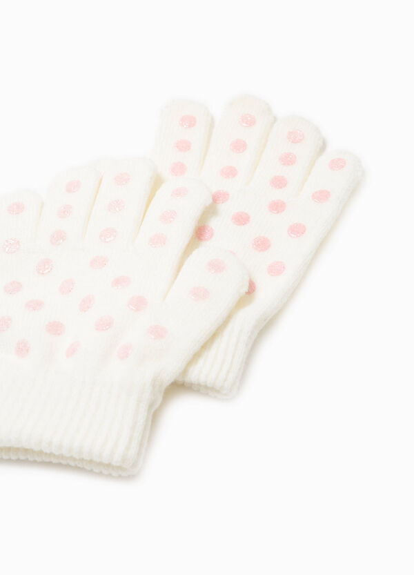 Gloves with glitter polka dot pattern