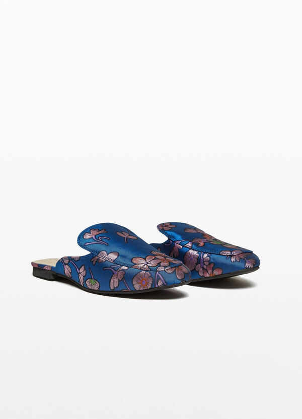 Flat sabots with floral print