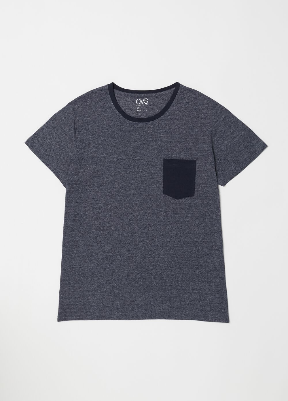 Short mélange-effect pyjamas with pocket