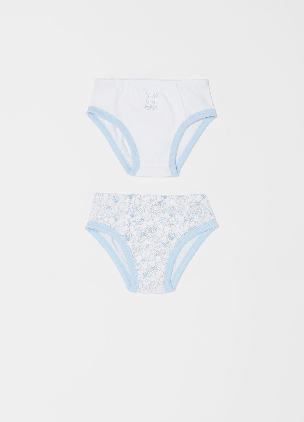 Two-pack 100% organic cotton briefs with rabbits