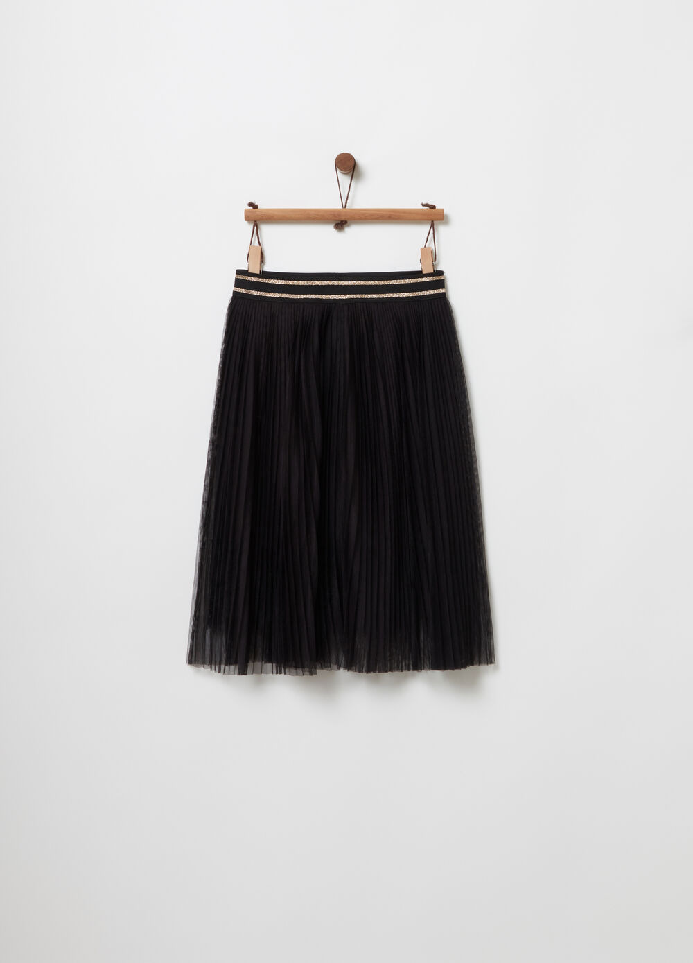 Pleated tulle skirt with striped waist