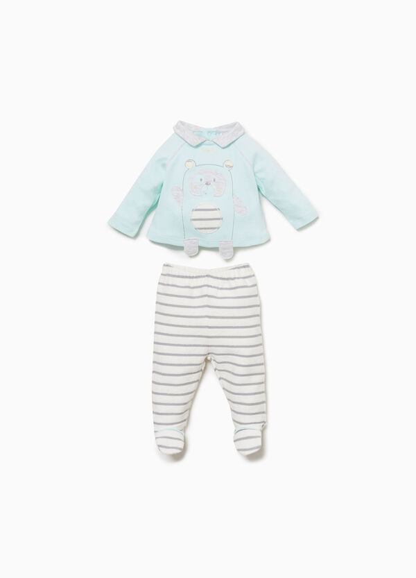 T-shirt and baby leggings set with striped teddy bear