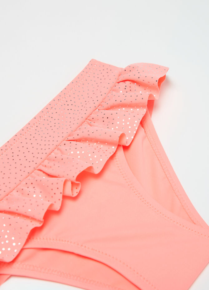 Stretch swim briefs with frills and sequins