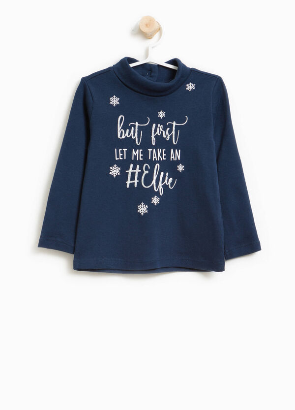 Turtleneck jumper in cotton with printed lettering | OVS