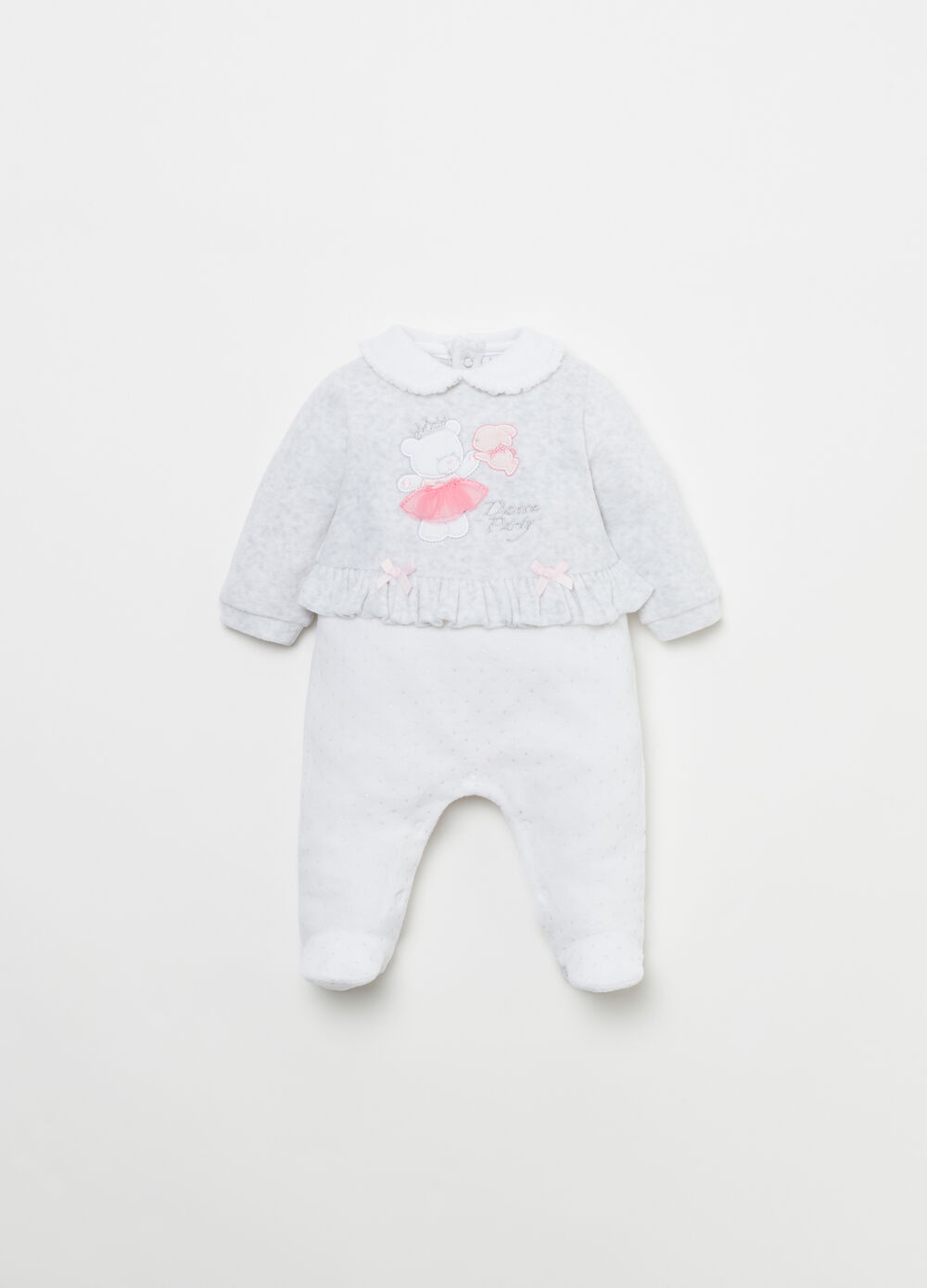 Onesie with animal patch and glitter polka dots