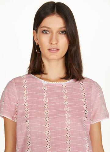 T-shirt in striped lace with trim