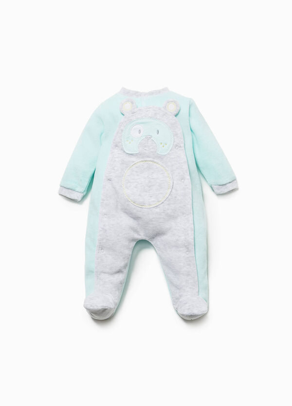 Two-tone onesie with teddy bear patches