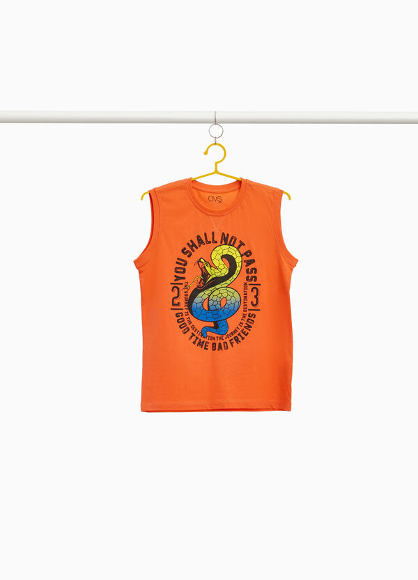100% cotton vest top with cobra and lettering
