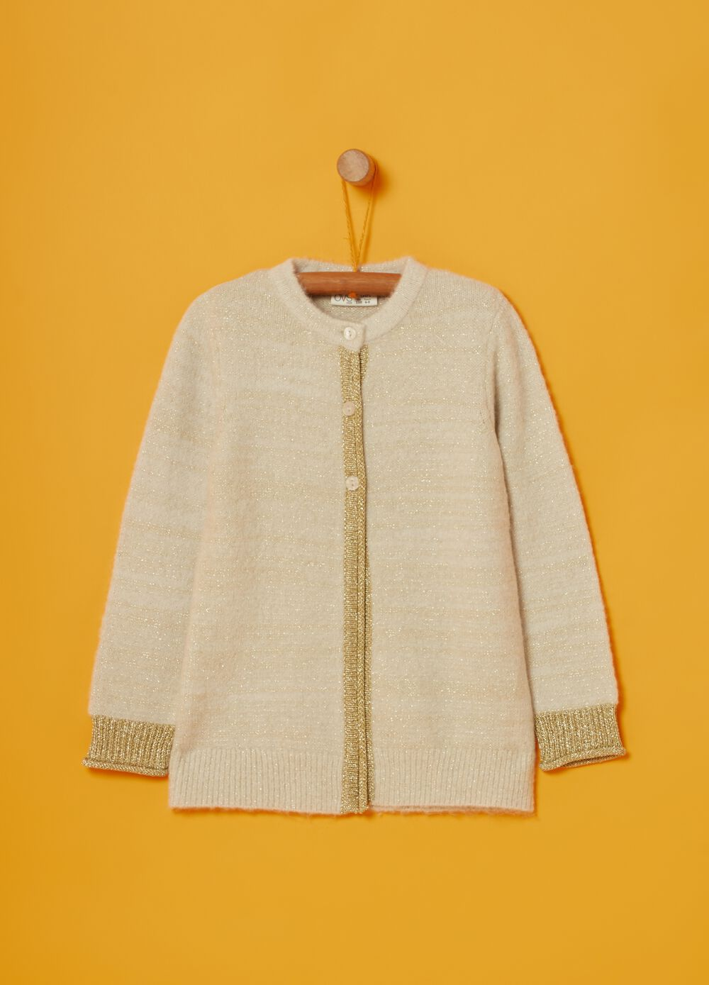 Cardigan with knitted lurex and buttons
