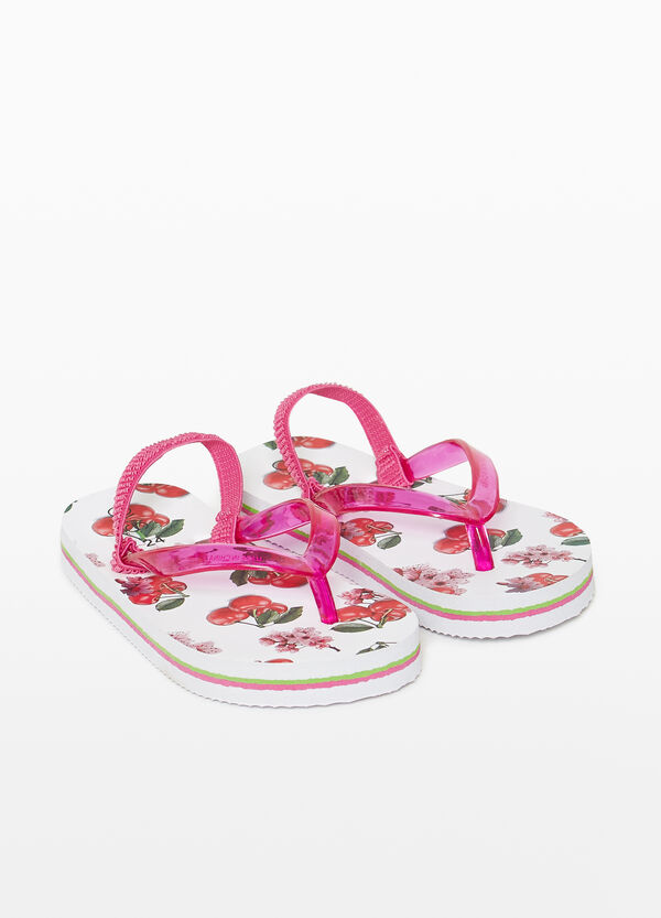 Rubber flip flops with cherry pattern