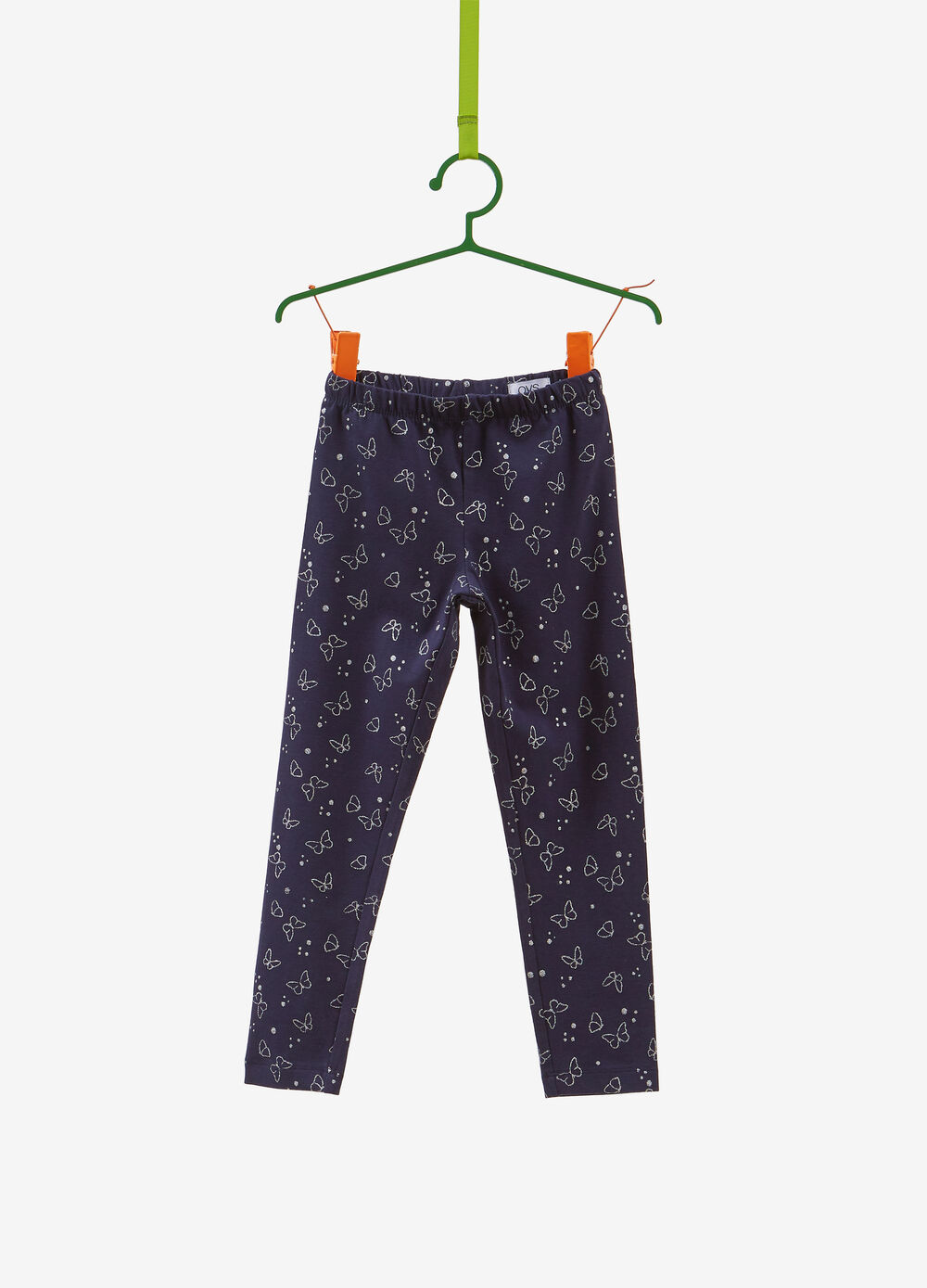 Stretch leggings with butterfly glitter print