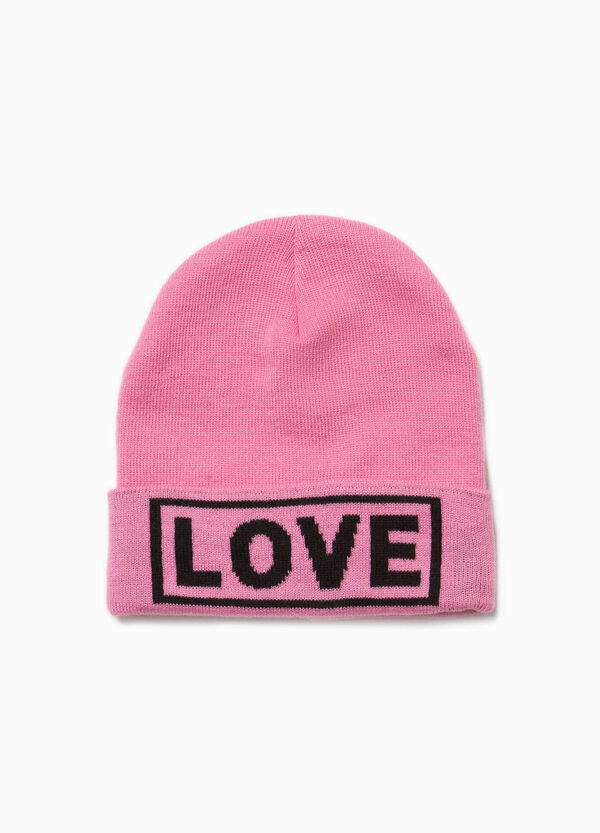 Beanie cap with printed lettering