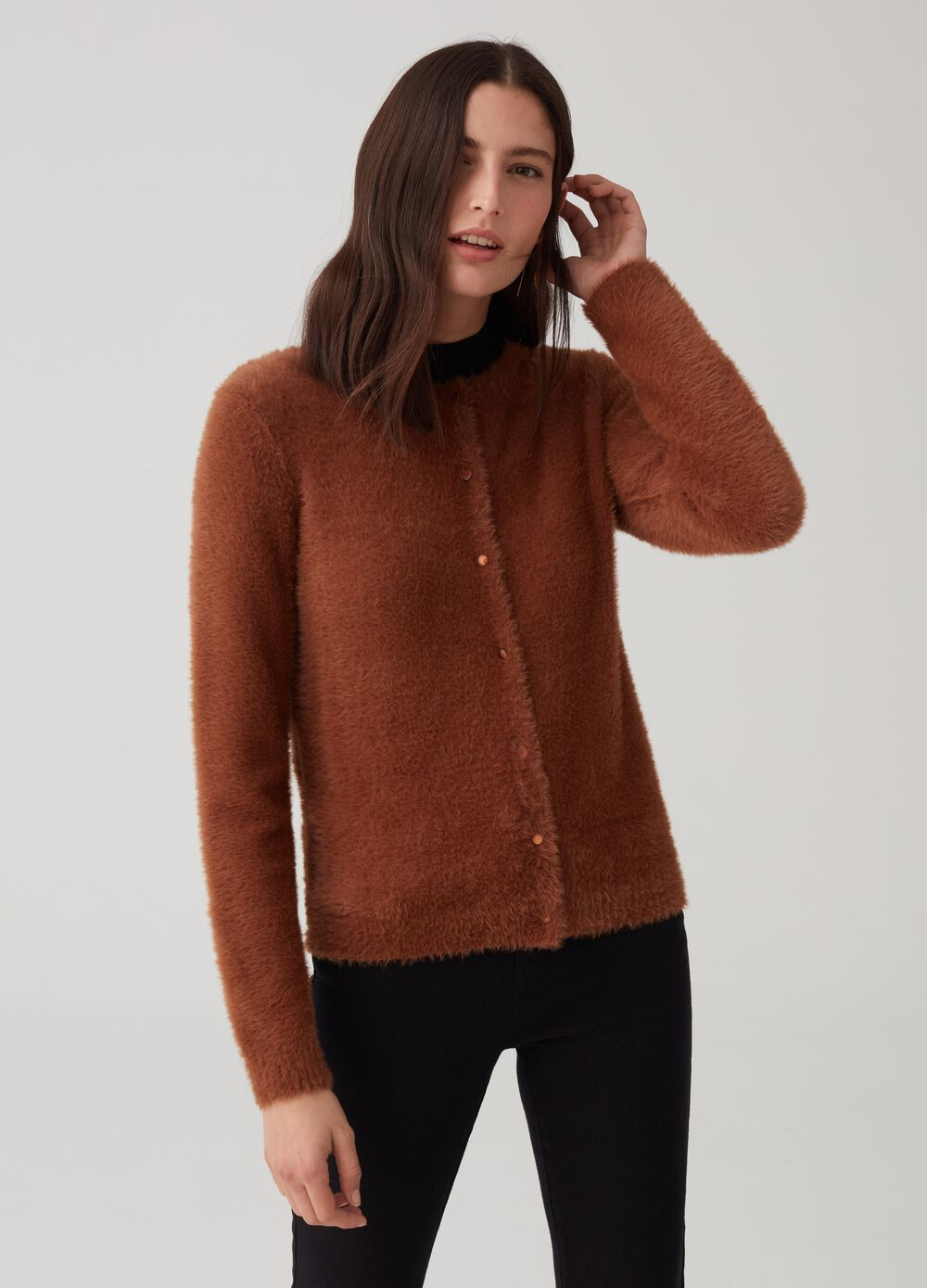 Fur-effect cardigan with buttons