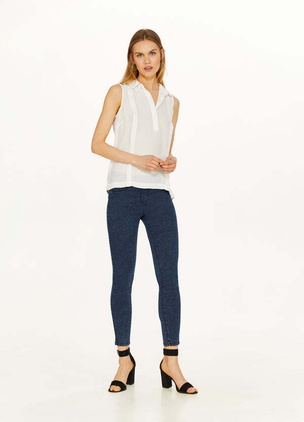 Jeggings stretch effetto maltinto
