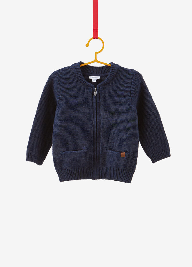 Knitted cardigan with zip and pockets