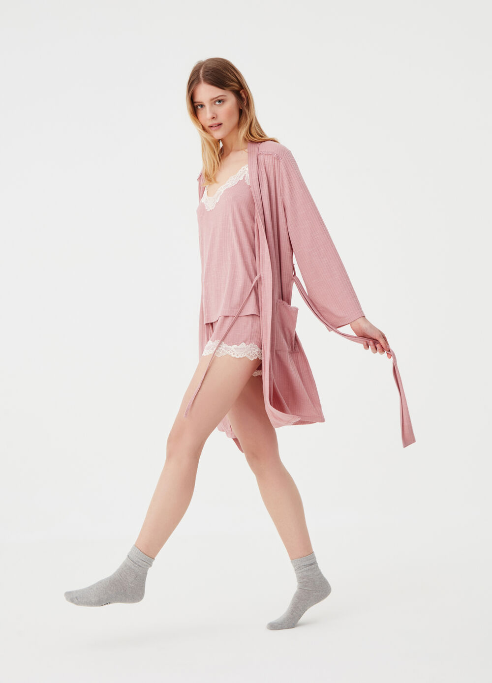 Ribbed jersey dressing gown with lace trim