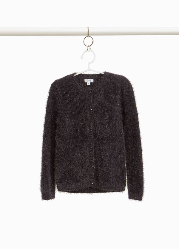 Knit frayed cardigan with lurex