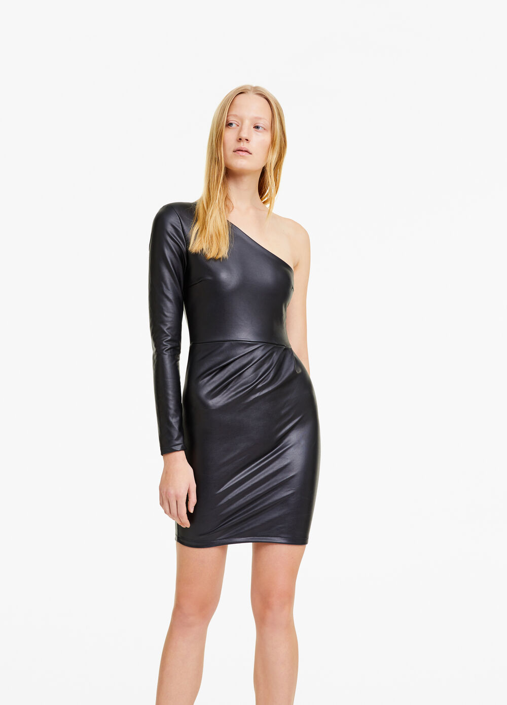 One-shoulder stretch leather-look dress
